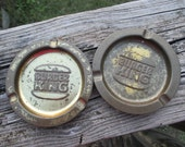 Vintage Pair Burger King Restaurant Tin Ash Trays--Small Round Gold Ashtray--Advertising Memorabilia--Old School Smoking--Giveaway Premiums-