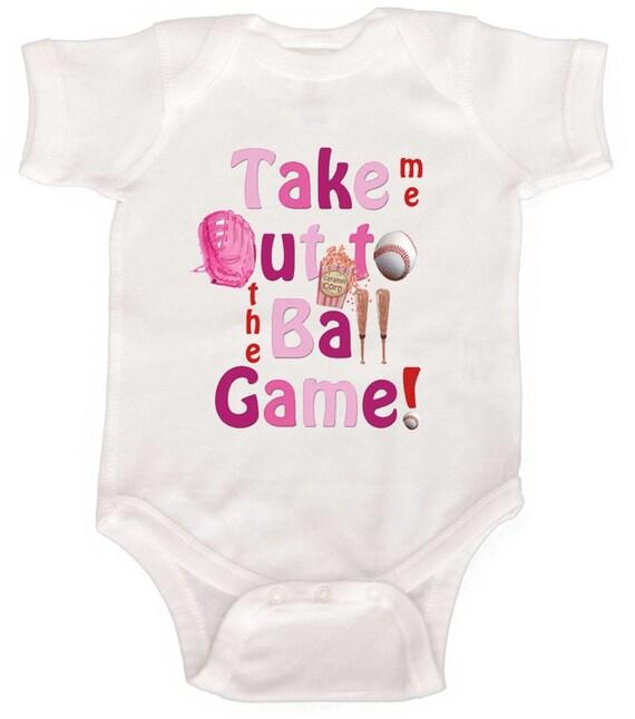 Baby Girl Baseball Bodysuit Take me out to the Ball Game Girl Baseball One Piece Infant Tee Shirts Girl Baseball T-Shirt