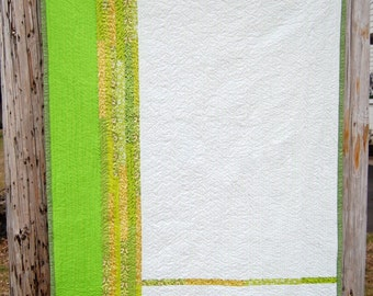 Green Lines Modern Patchwork Baby Toddler Child Crib Quilt / Blanket - READY TO SHIP