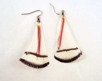 White natural Feather Earrings with crest