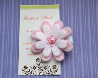 Light Pink Pearl Felt Flower Clip