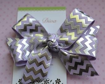 Lavender and Silver Foil Chevron Classic Diva Bow