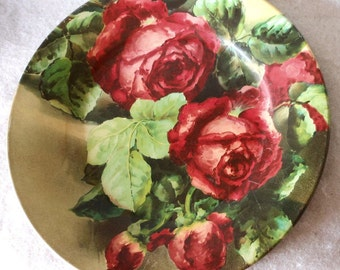 Antique Vienna Tin Plate with Lovely Red Roses