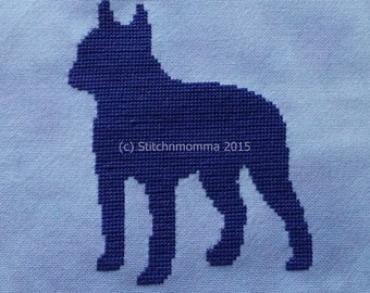 15002 Boston Terrier Dog Silhouette - Original Design Cross Stitch PDF Pattern - DIGITAL DOWNLOAD