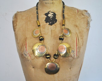 Vintage 1980s Bold Brass Ethnic Long Necklace