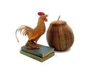 Vintage Wicker Rooster & Gourd Basket Rustic Home Decor