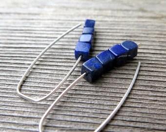 lapis lazuli earrings. cobalt blue earring. royal blue jewelry.
