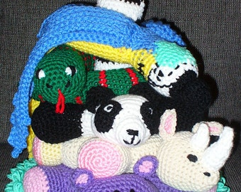 At The Zoo - Hippo, Rhino, Panda, Snake, Parrot - Stacking Stuffed Toys - Crocheted
