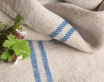 B 174 : grain sack,  antique linen; HEAVEN BLUE;  pillow benchcushion;  wedding decoration; yachting pillow, thanksgiving; gift bag