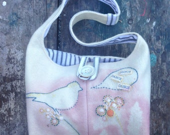 Dance Dance Dance - Pretty Printed and Embroidered Bag/Purse with  Singing Bird Motif. Unique Accessory, Gift idea,