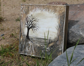 Original painting with tree rustic wall decor