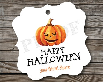 12 Happy Halloween Tags . Personalized Halloween Favor Tags