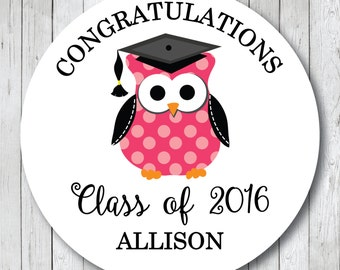 Graduation Owl Stickers . Personalized Graduation Tags or Labels . Custom Colors