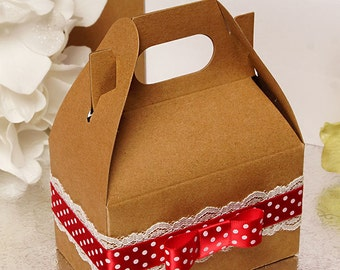 10 Mini Kraft Gable Boxes . 4 x 2.5 x 2.5 inches