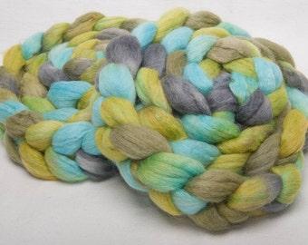 BABY ALPACA, Tussah Silk, 25 mic.Merino Hand painted roving fibre fiber felting spin 103g