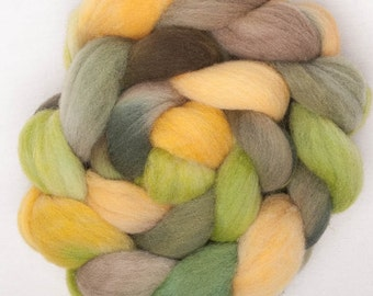 Hand dyed roving, combed tops, Southdown, conservation breed, British wool, hand painted, roving,  fibre, spin, colour; Partridge Green