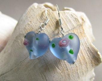 Heart Shaped Earrings, Blue Lampwork, Rose Detail, Beaded Earrings, Blue Glass, Gift For Her, Mothers, Gift Giving, Valentine, Easter, SRAJD