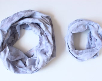 CLEARANCE Mommy & Me Infinity Scarf Set in Marbled Gray - Hand Dyed Cotton - Ready to Ship
