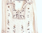 Old ivory silk beaded top vintage gold embroidery