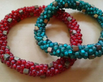 Beaded Bangles  --ONLY RED LEFT