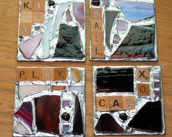 Cat Themed Scrabble Mosaic Recycled Stained Glass Coasters - Cat, Kitty, Ball, Play, Xo (Set of 4)