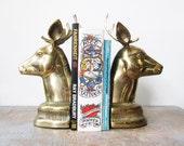 brass deer bookends, vintage deer head bookends, large brass deer bookends