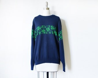 shamrock sweater, vintage st. patrick's day sweater, navy blue and green 80s Irish sweater