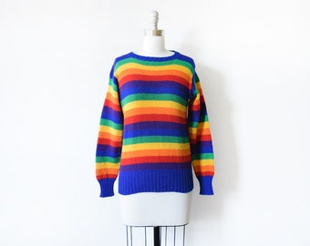 vintage rainbow sweater, 70s rainbow striped sweater, small wool pullover knit sweater