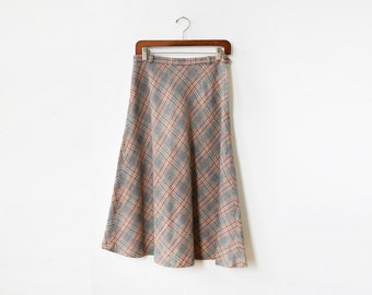 70s plaid skirt, vintage plaid wool skirt, 1970s wool a-line skirt