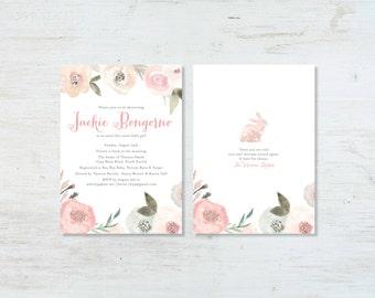 Watercolor Garden Baby Shower Invitation, Velveteen Rabbit, Girl or Boy (deposit)