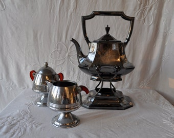 Vintage Coffee Urn On Tipping Stand with Creamer and Sugar Bowl/Vintage c. 1940s/Elegant Chrome Buffet Coffee Pot Tea Pot/Bakelite Handles