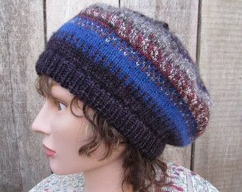 Beret knitted hat/cap multicolored OOAK winter wool hat / tam