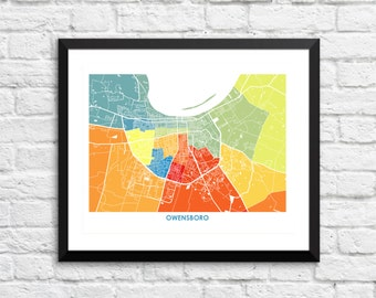 Owensboro Map Print.  Choose your Colors and Size.  Kentucky City Art Poster.