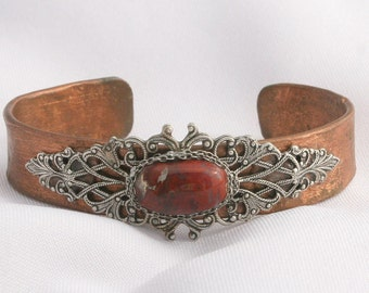 Vintage Handcrafted Copper Cuff Embellished with Silver Filigree Sterling Silver chain Setting Red Jasper Stone