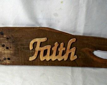 Faith Reclaimed Wood Sign, Rustic Wood Sign, Farmhouse Decor, Inspirational Sign, Faith