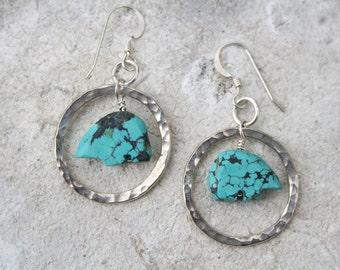 Zuni Bear Earrings, Southwestern Jewelry, Boho Turquoise earrings, Rustic Jewelry