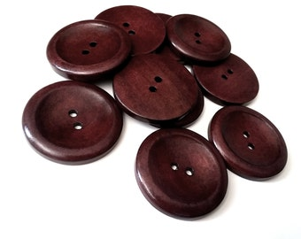 "Big Dark Brown button - 3 large wooden buttons 40mm (1 5/8"") (BB140B)"