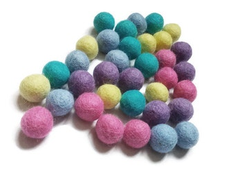 Felted balls 2cm - Easter colors mix - 35 pure wool beads  (W260E)