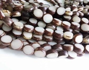 10 Flat Round Buri Seed Beads 15mm (PN204)