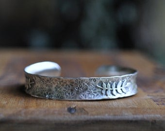Sterling Silver Cuff, Metalwork Bangle, Oxidised Leaf Bracelet, Hand Stamped Anti Clastic Cuff - Rustic Elm Cuff