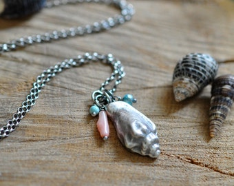 Sterling Turquoise Shell Necklace, Oxidised, Sterling Silver Gemstone Charm Necklace - Shoreline Necklace No.4