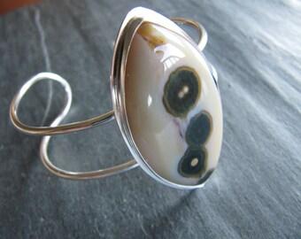 Cuff Bracelet of Ocean Jasper and Sterling Silver