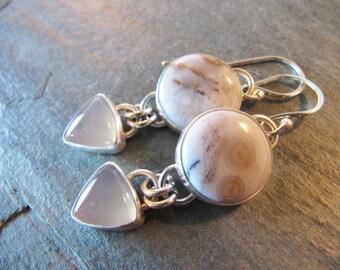 Earrings of Ocean Jasper and Moonstone in Sterling Silver