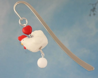 Bitty Chicken Bookmark -white hen and egg under red heart on silver bookmark - gift for rooster fans - Free Shipping USA