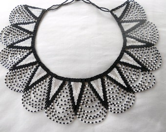 Black, white and silver Zulu beaded collar