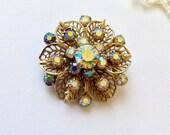 Vintage AB Brooch with Sparkling Aurora Borealis Rhinestones - Starburst Pin
