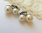 Classic Vintage Faux Pearl Clip Earrings Signed Japan
