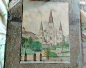 Antique 175 year Roofing Slate, Archie's Sketch, St. Louis Cathedral. Historic New Orleans