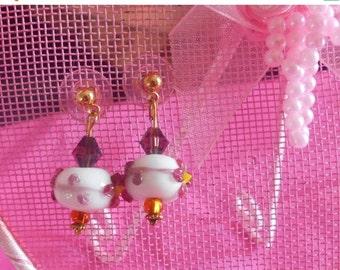 1 DAY SALE Vintage Beads Flower Dangle Earrings, Pierced Ears