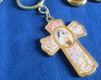 Virgin Mary Cross Keychain, Holy Mother Key chain